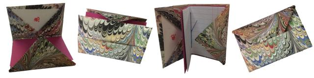 Suminagashi Origami Wallet with Stitched Pamphlet